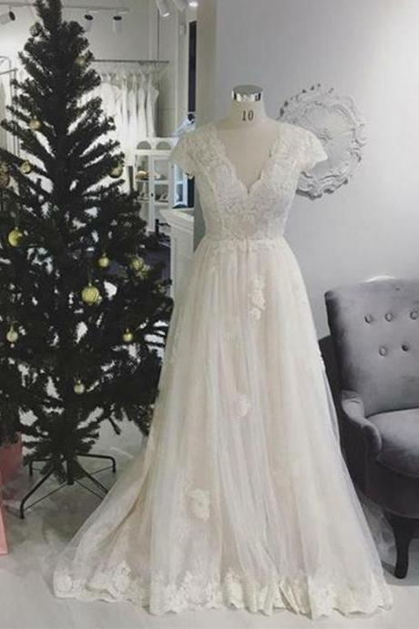 White Long Prom Dresses V Neck Cap Sleeve Evening Party Dresses