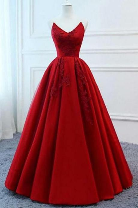 Sweetheart Red Long Prom Dresses Evening Dresses With Appliques