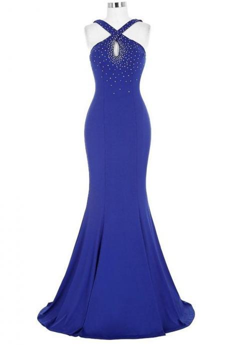 Royal Blue Open Back Long Mermaid Beaded Sexy Prom Dresses