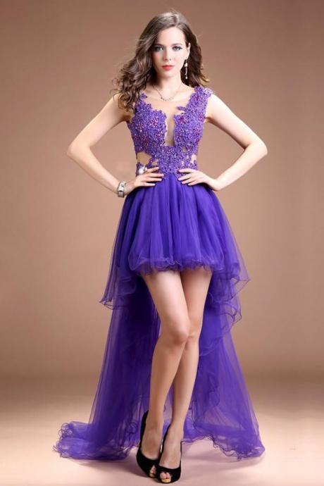 Short Front Long Back Lace Beaded Backless Prom Dresses