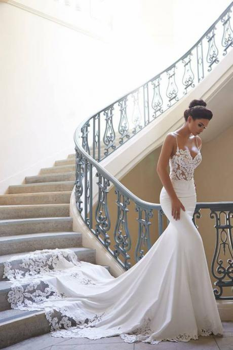 Elegant Spaghetti Straps Mermaid Spandex Wedding Dresses With Applique Court Train