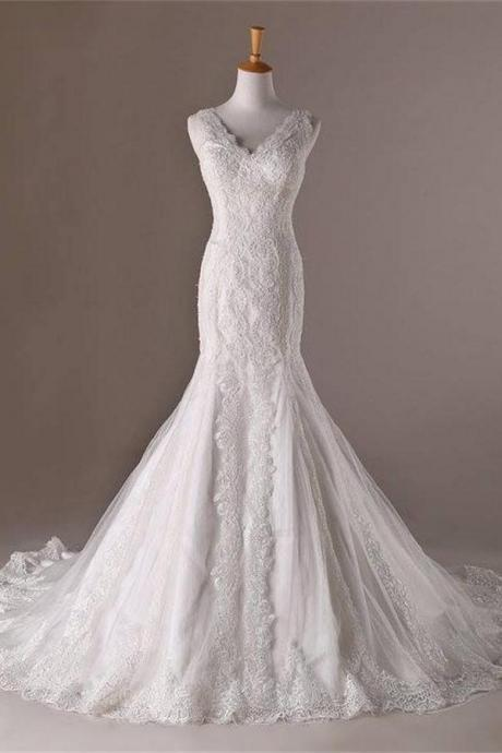Mermaid V-neck Long Lace Sweep Train Lace Up Modest Wedding Dresses