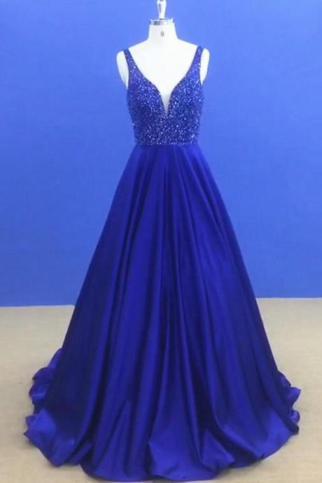 New Arrival Beaded Prom Dress,Elegant Homecoming Dress, Sleeveless Long Party Dress for Graduation