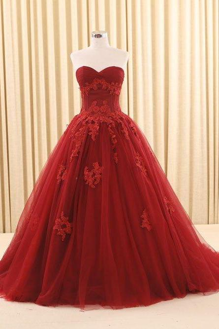 Sparkly Sweetheart Appliques Ball Gown Prom Dresses,Real Picture Floor Length Tulle Beaded Puffy Long Prom Dress
