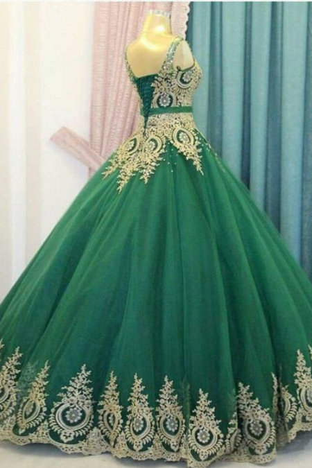 A-LINE V NECK HUNTER PROM DRESSES QUINCEANERA ELEGANT EVENING DRESSES