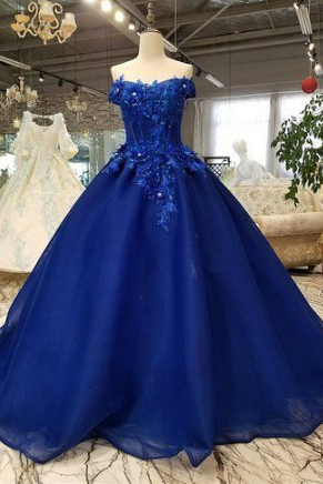 Royal blue tulle off shoulder long lace applique senior prom dress with sleeve