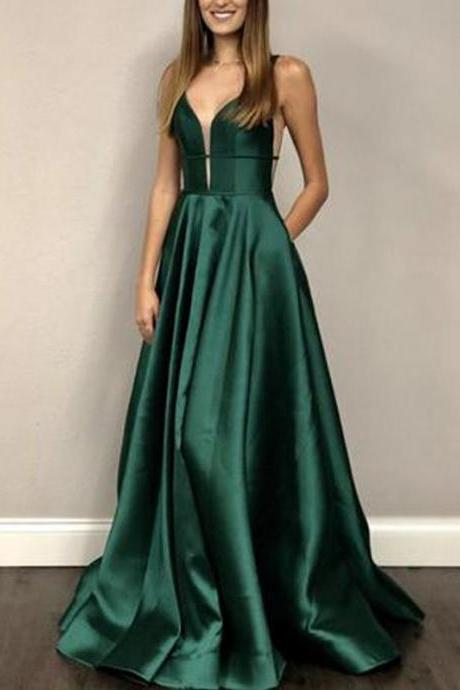 Long A-line Emerald Green Satin Prom Dresses