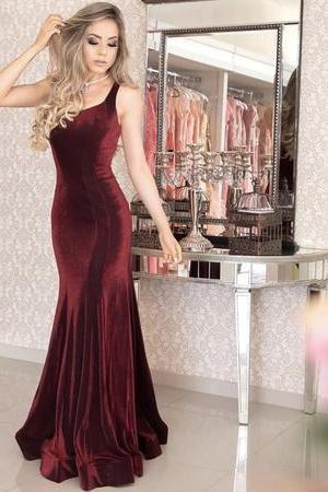 Spaghetti Straps Long Corset Mermaid Velvet Evening Dresses