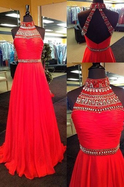High-Neck Prom Dress,Beading Prom Dress,A-Line Prom Dress,High Quality Evening Dress