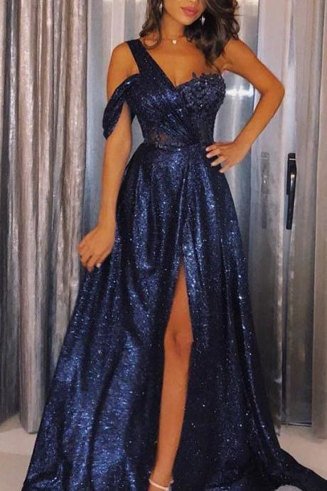 Elegant One Shoulder Split Navy Blue Sequined Cold Shoulder Prom Evening Dress with Appliques
