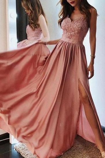 Princess Straps Pink Chiffon Long Prom Dress