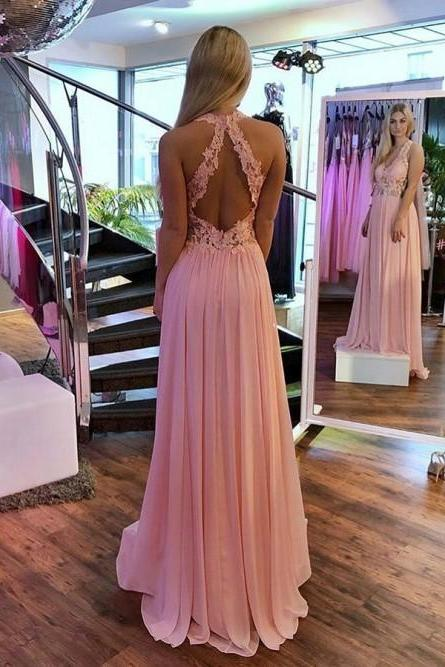 A-Line V-Neck Open Back Pink Prom Dress with Appliques