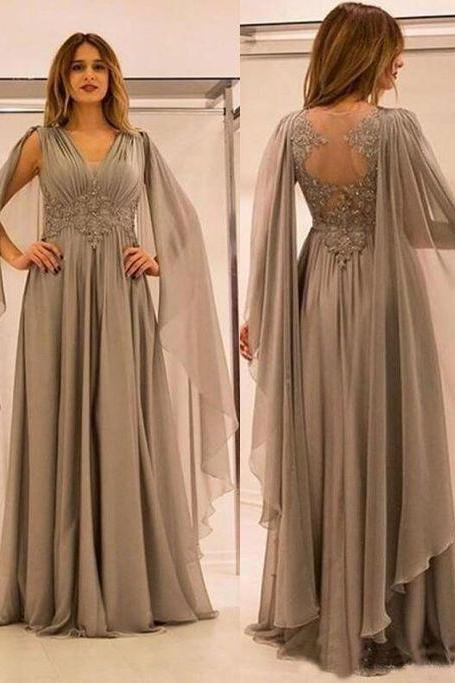 V Neck Empire Long Light Gray Mother of the Bride Dresses Waist with Appliques