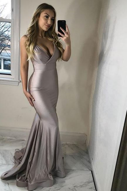 Sexy v neck long prom dress, mermaid evening dress