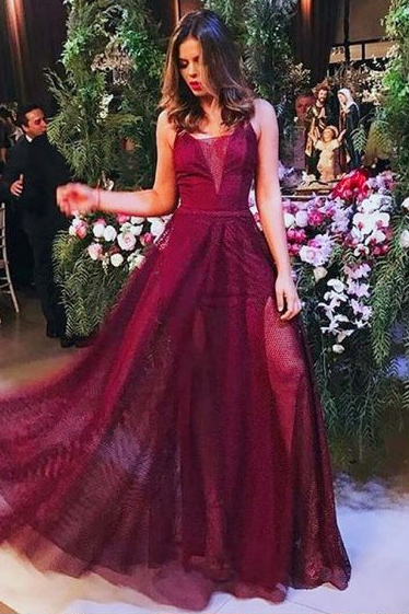 A-Line V-Neck Sleeveless Dark Red Long Prom Dress