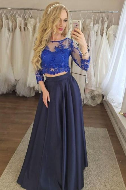 Two Piece Round Neck 3/4 Sleeves Dark Blue Prom Dress with Appliques