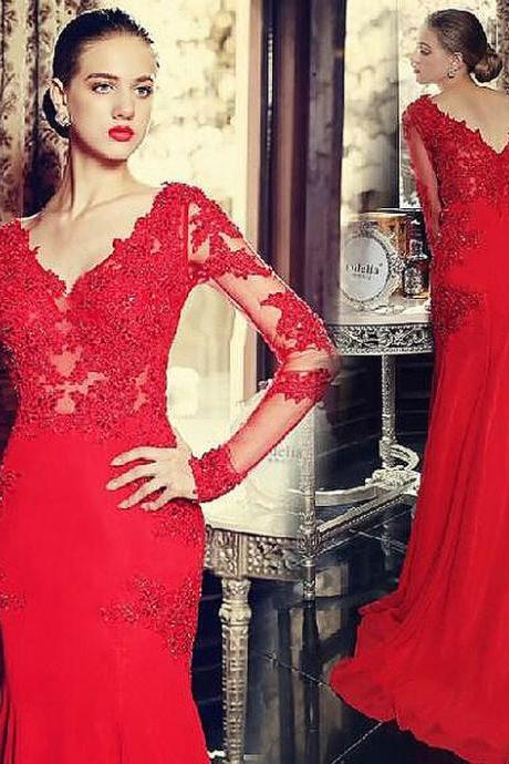 Red Prom Dress,Sexy Long Sleeves Prom Dress,Backless Lace Appliques Wedding Dress,Mermaid Chiffon Prom Dress