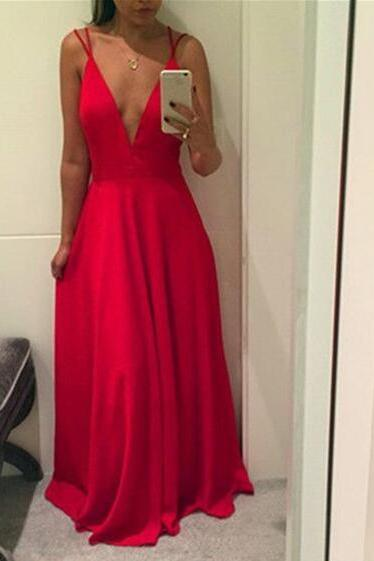 Red Straps Sexy Chiffon Prom Dresses, Red Floor Length Evening Gowns, Party Dresses