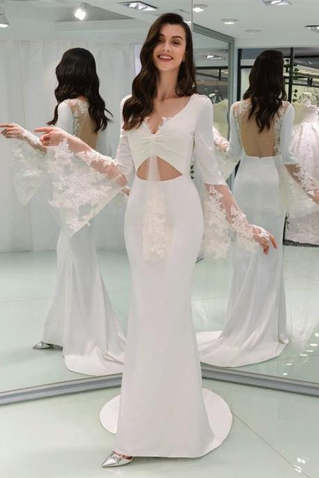 Simple Gorgeous Sexy V-Neck Backless Appliques Mermaid Prom Dress Wedding Dress