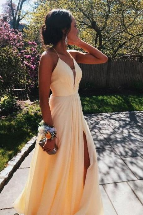 Sheer Neck Pale Yellow Evening Dress with Slit