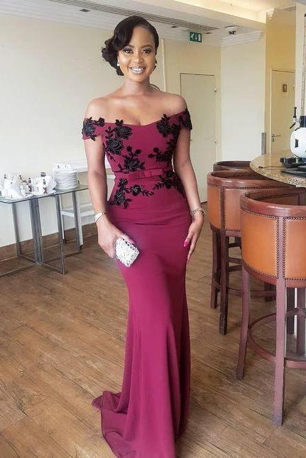 Custom Made Burgundy Off the Shoulder Prom Dress With Black Lace Flower Applique