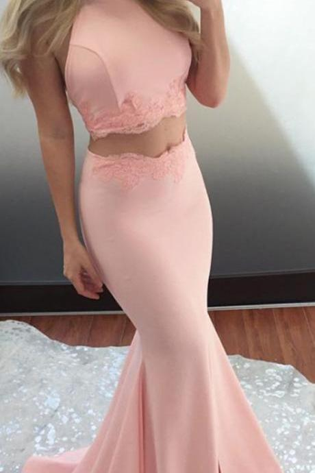 Mermaid Jewel Pink Long Prom Dress,Backless Two Piece Party Dress with Lace