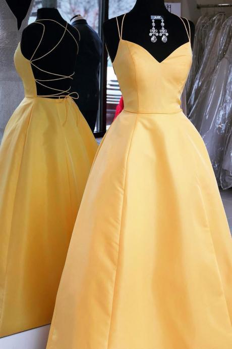 Sexy Backless Yellow A Line Prom Dress Long Evening Dress