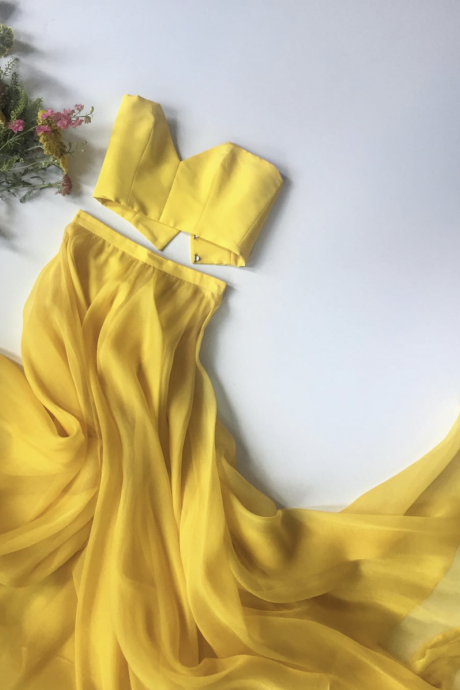 Bright Yellow Strapless Crop Top Two Pieces Long Prom Dresses Party Dresses