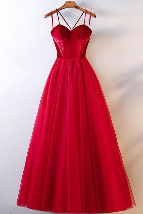 RED TULLE LONG PROM DRESS, SIMPLE RED TULLE EVENING DRESS