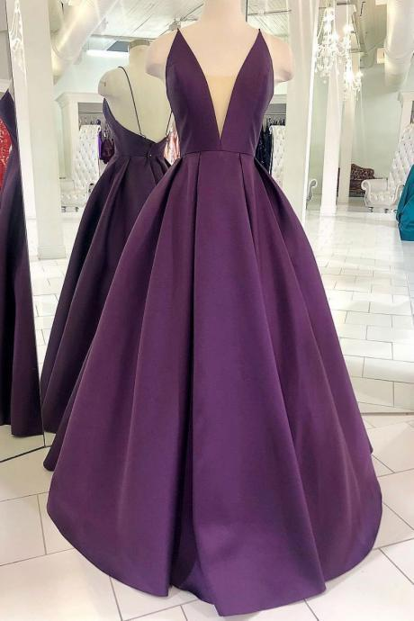 PURPLE SATIN LONG PROM DRESS, SIMPLE PURPLE EVENING DRESS