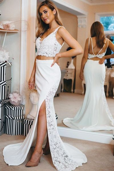 Two Piece Mermaid Backless Long Prom Dress with Slit