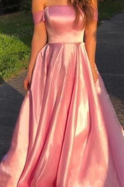 Off Shoulder Straight Neckline A-Line Backless Prom Dresses
