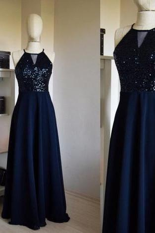 Custom Made Charming Chiffon With Top Sequin Navy Blue Bridesmaid Dress