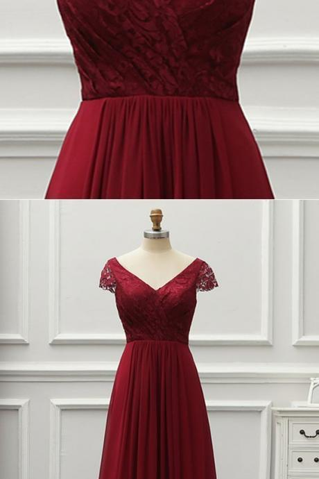 Simple Pretty Burgundy Lace Cap Sleeves V Neck Long Chiffon Prom Dress, Formal Dress