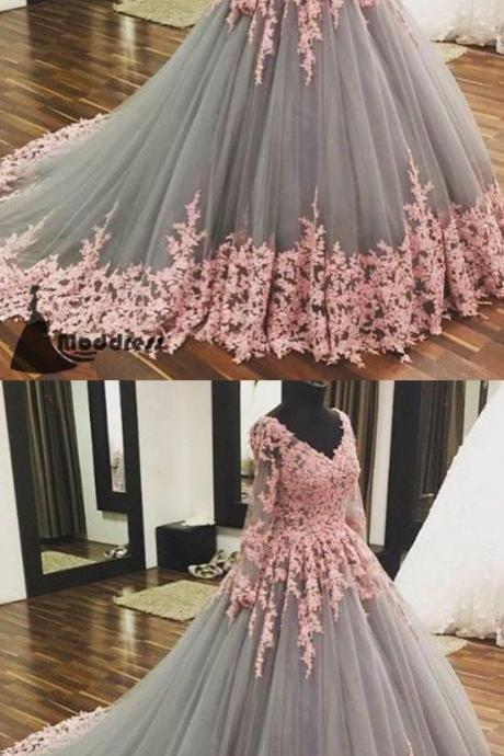 Custom made unique v neck wedding dress tulle applique long prom dress long sleeve evening dress