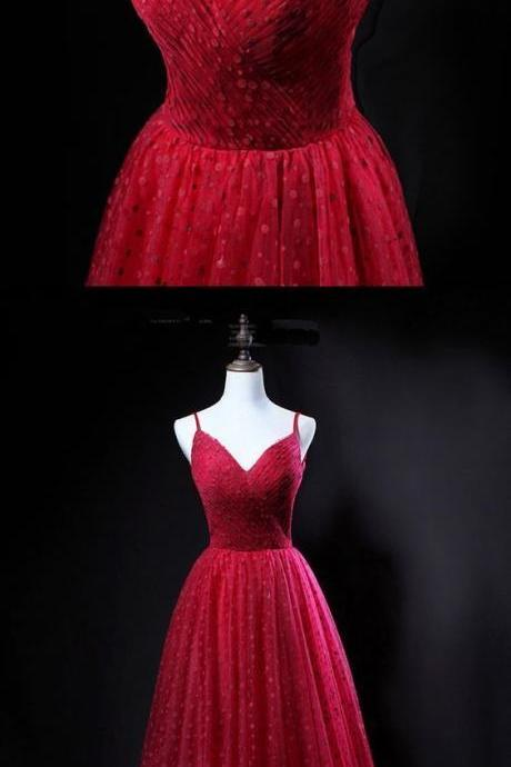 Unique red tulle V neck spaghetti long evening dress, party dress