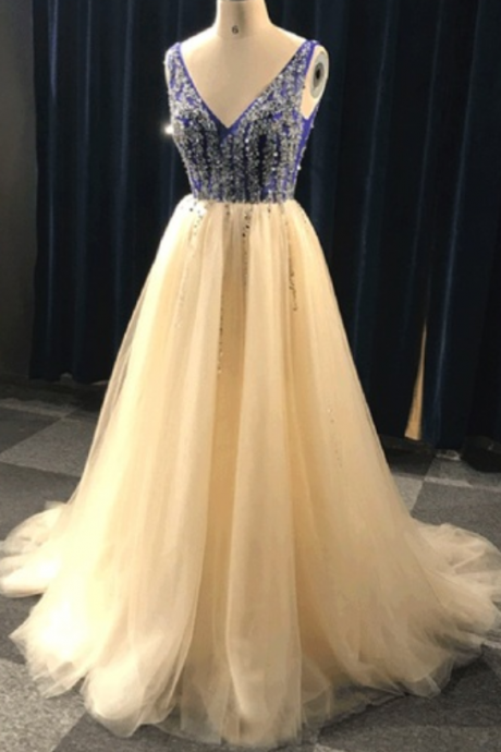 Charming Champagne Long Tulle A-Line Formal Dress Featuring V Neck And Beaded Bodice,,Long Elegant Prom Dresses