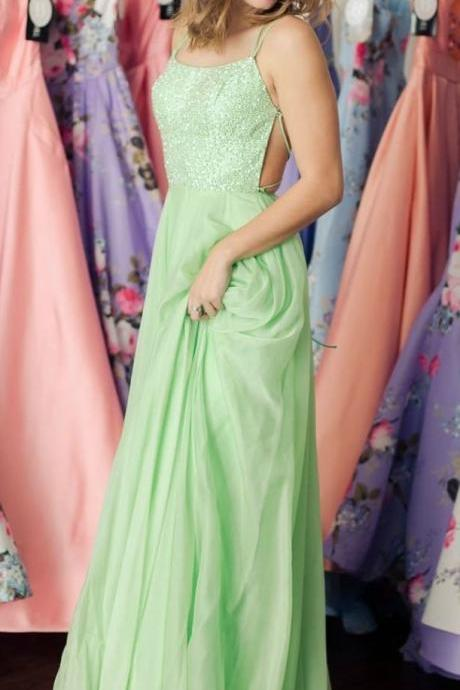 Spring Green Prom Dress,Open Back Evening Dress,Long Prom Gown