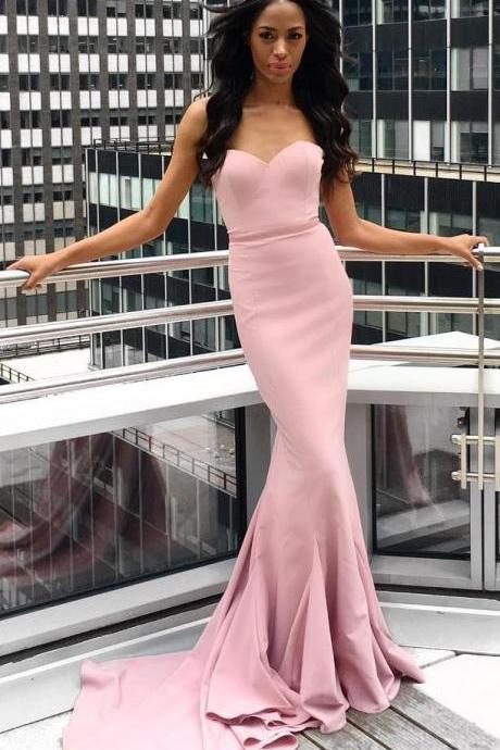 Mermaid Blush Prom Dress,Simple Strapless Formal Party Dress