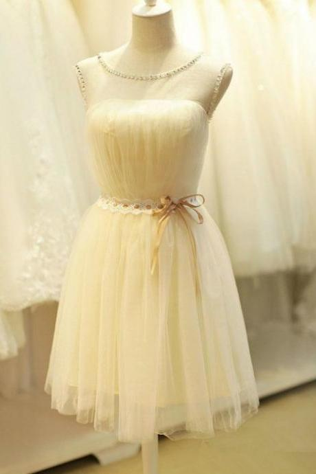 A-line Homecoming Dresses Sleeveless Jewel Short Mini Beading Customized Lace Up Dresses