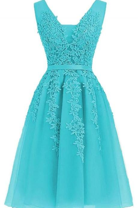 Elegant Appliques Blue/Pink Tulle Homecoming Dress, Short Prom Dress