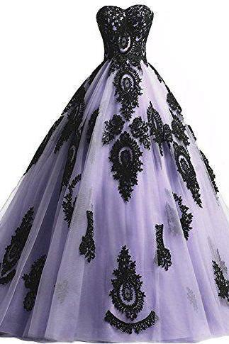 Charming Light Purple Tulle Quinceanera Dresses, Black Appliques Ball Gown Prom Dresses, Formal Gown