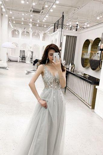 Sexy Tulle Long Prom Dress, Crystal Beading Prom Dresses, V neck Evening Dress