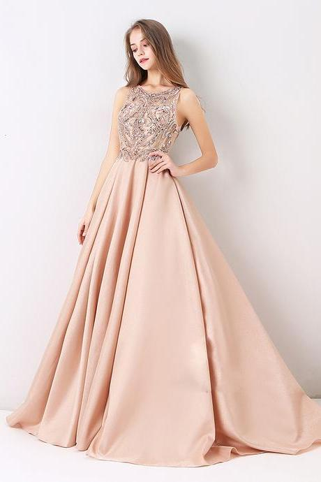 Charming Beaded Long Prom Dress, Sexy Long Evening Party Dress