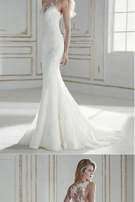 Attractive Tulle & Lace Mermaid Wedding Dress With Lace Appliques