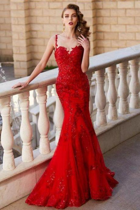 Red Prom Dresses,Mermaid Evening Dress,Fitted Prom Dress,Gorgeous Prom Dress,
