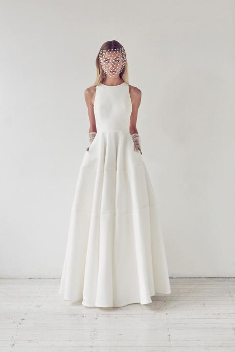 Simple Elegant Satin Floor Length Wedding Dress, Round Neck Bridal Dress