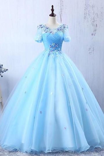Light Blue Formal Evening Dress A-line Floor-length Prom Dress with Appliques