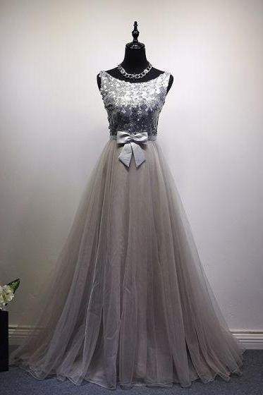 gray party dress Scoop Neck evening dress tulle Silver Sequins prom dress Bow Sash formal dress