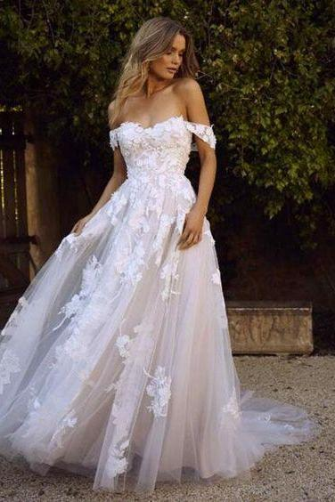 white wedding dress Lace applique Wedding Dresses Off the Shoulder Wedding dress